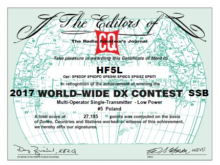 HF5L CQWW 2017 SSB certificate