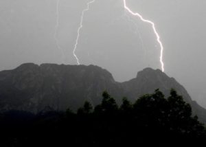 Lightning bolts on Giewont, Tatra Mountains, Poland