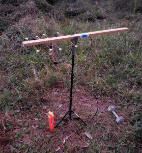 Testowana antena Yagi na statywie
