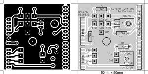 """Rys.6 """"Bottom Shield"""", układ i komponenty PCB ."""